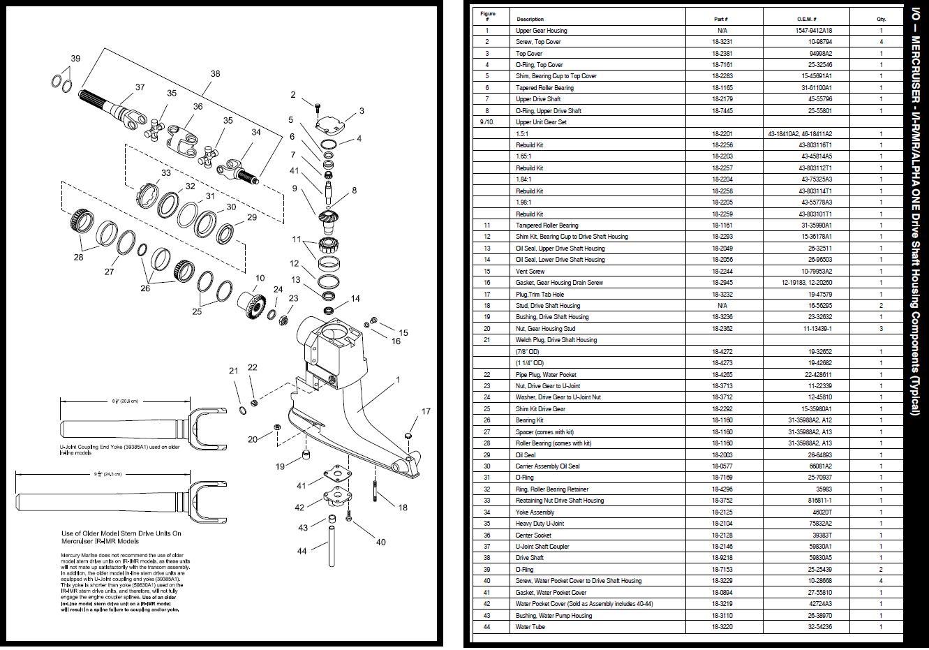 Mercruiser ALPHA ONE incl onderdelenlijst (montage) - www